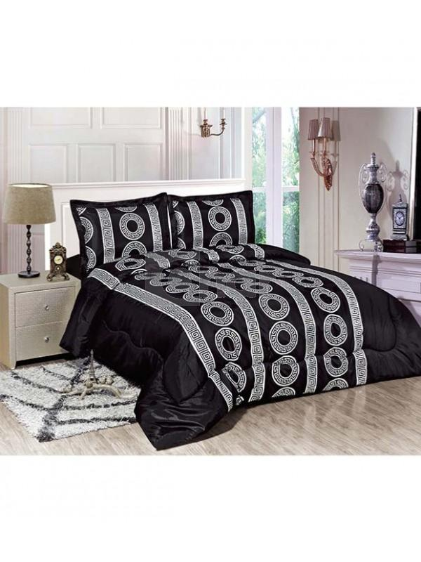 parure de lit motifs g om triques noir argent. Black Bedroom Furniture Sets. Home Design Ideas