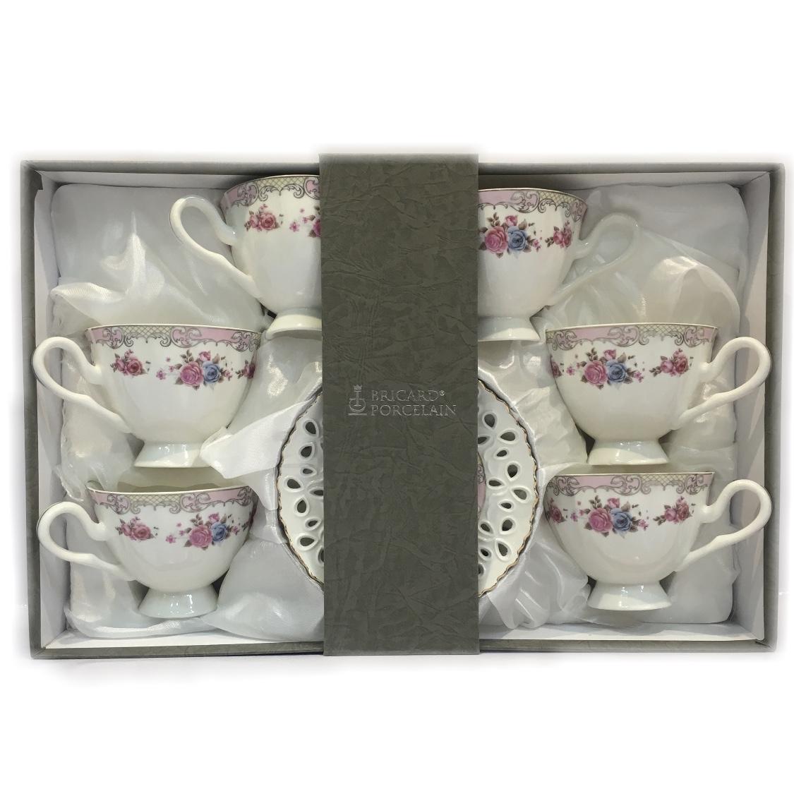 coffret de 6 tasses caf fleurie rose design dentelle en porcelaine. Black Bedroom Furniture Sets. Home Design Ideas