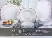Service de table en porcelaine 28 pices carré rose et blanc